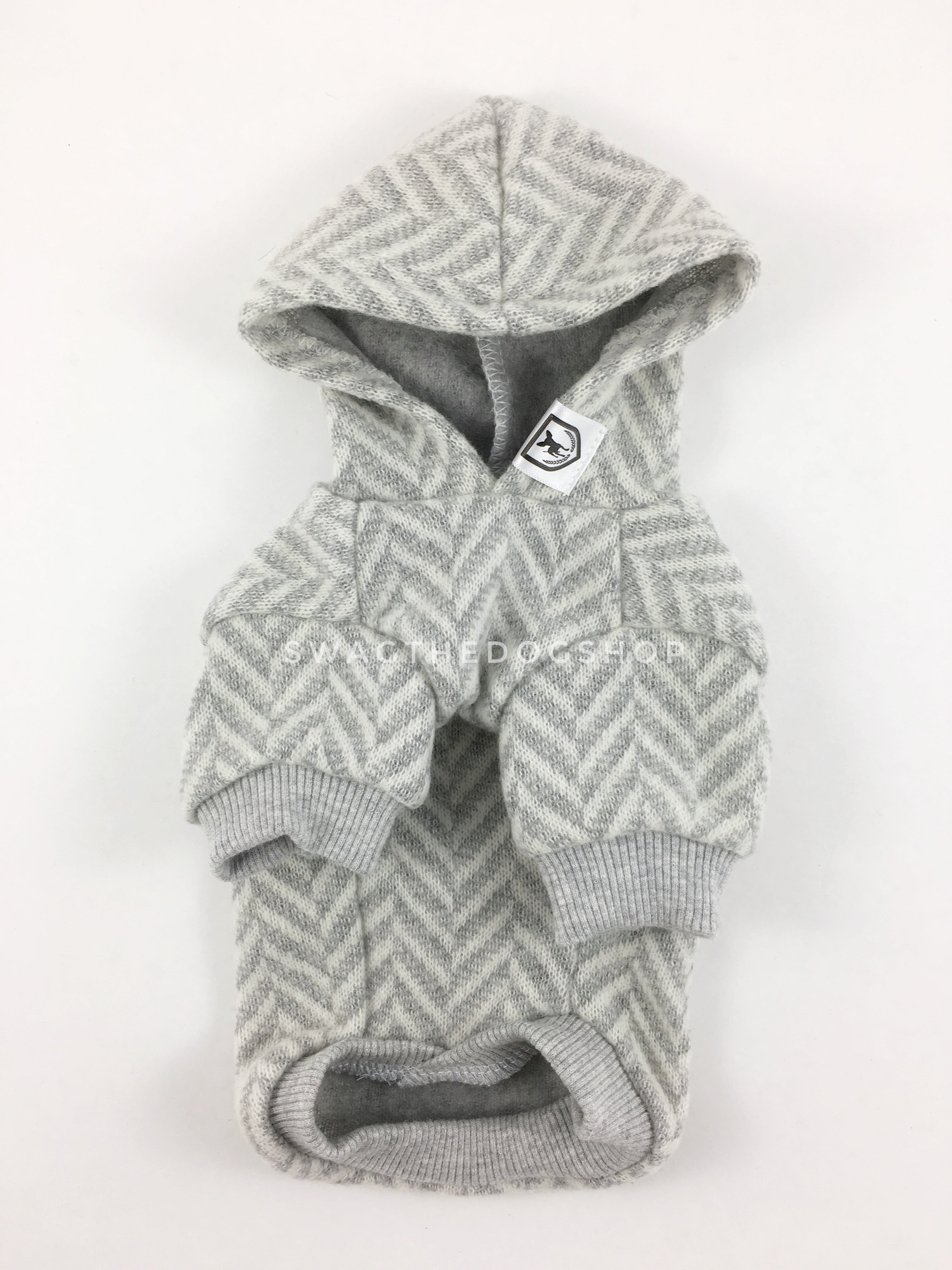 Après Ski Gray Hoodie - Product Front View. Gray and White Herringbone Hoodie