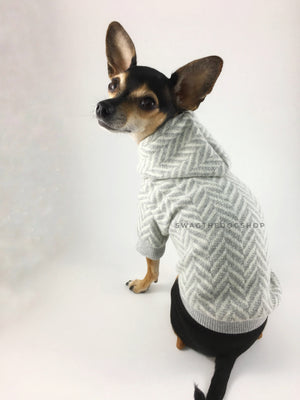 Après Ski Gray Hoodie - Cute Chihuahua Dog Wearing Hoodie Back View. Gray and White Herringbone Hoodie