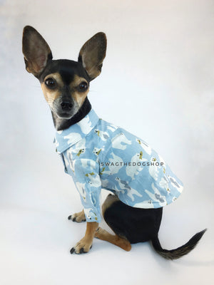 Arctic Expedition Shirt - Cute Chihuahua Dog Wearing Side View. Polar Bear Fishing Expedition Blue Button Shirt