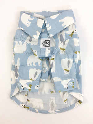 Arctic Expedition Shirt - Product Front View. Polar Bear Fishing Expedition Blue Button Shirt