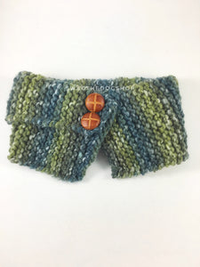 Love of Green Swagsnood - Product Front View. Spectrum of Green Color Dog Snood with Accent Button