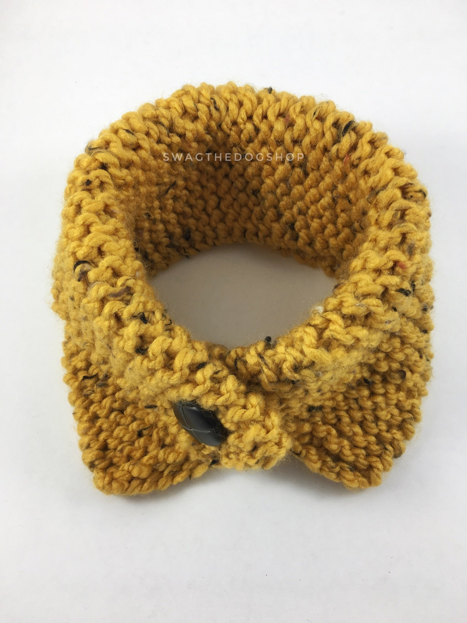 Honey Mustard Tweed Swagsnood - Product Above View. Honey Mustard Color with Black Speck Tweed Dog Snood with Accent Button