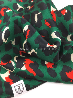 Fierce Forest Green with Red Swagdana Scarf - Close-up View of Product. Dog Bandana. Dog Scarf