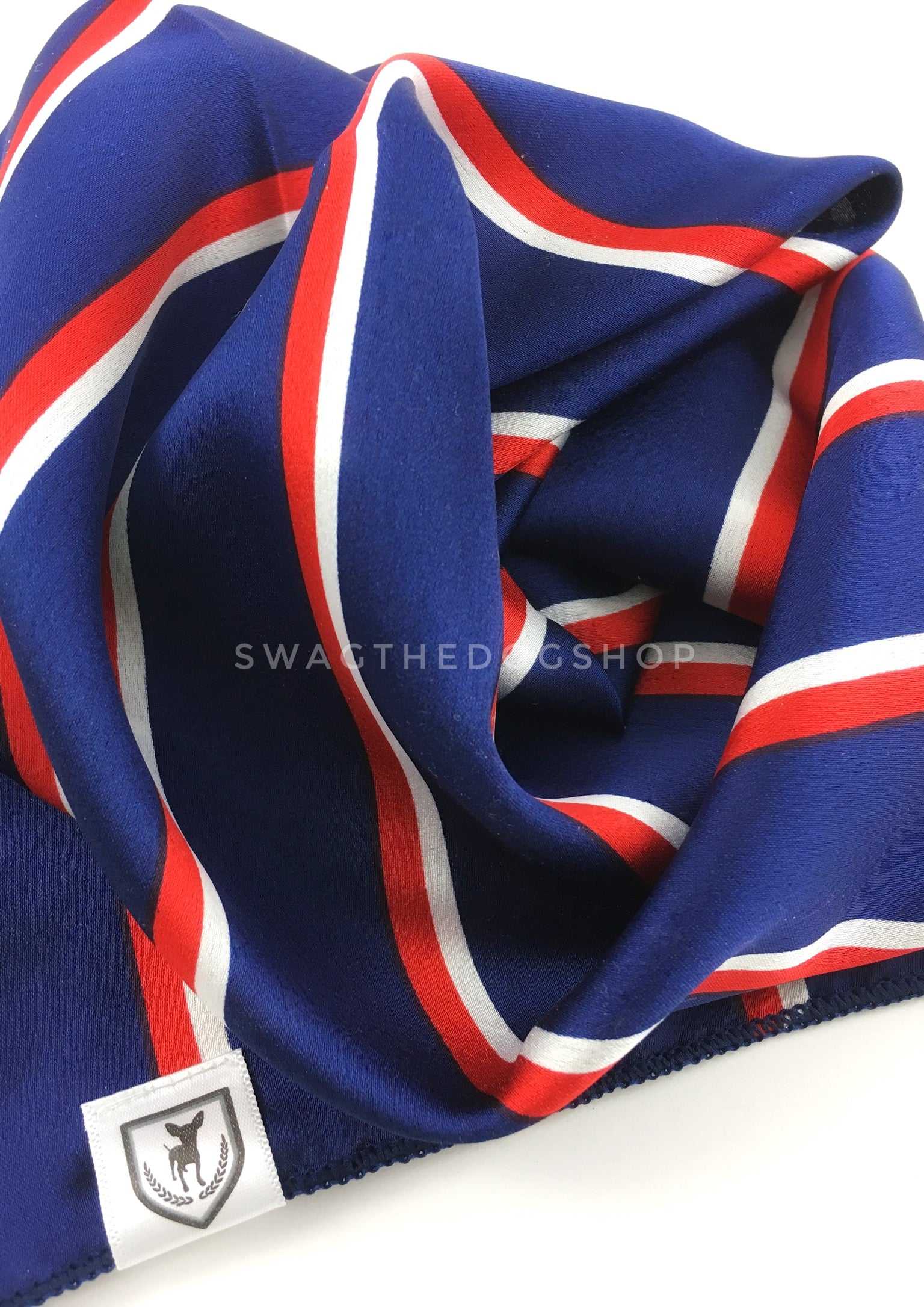 Afternoon in Paris Swagdana Scarf - Close-up View of Product. Dog Bandana. Dog Scarf