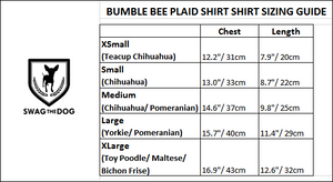 Bumble Bee Plaid Shirt - Sizing Guide. Yellow and Black Plaid Shirt