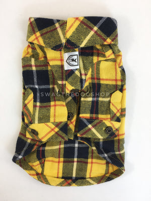 Bumble Bee Plaid Shirt - Product Front View. Yellow and Black Plaid Shirt