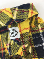 Bumble Bee Plaid Shirt - Product Close Up View of Label and Collar. Yellow and Black Plaid Shirt