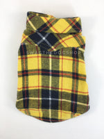 Bumble Bee Plaid Shirt - Product Back View. Yellow and Black Plaid Shirt