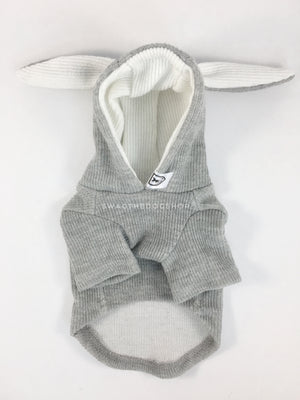 Gray Bunny Hoodie - Product Front View. Gray Bunny Hoodie with Pom Pom Tail