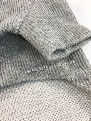 Gray Bunny Hoodie - Close Up of Sleeve View. Gray Bunny Hoodie with Pom Pom Tail