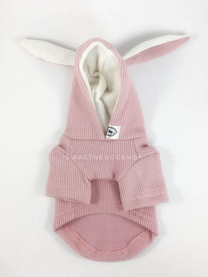 Pink Bunny Hoodie - Product Front View. Pink Bunny Hoodie with Pom Pom Tail