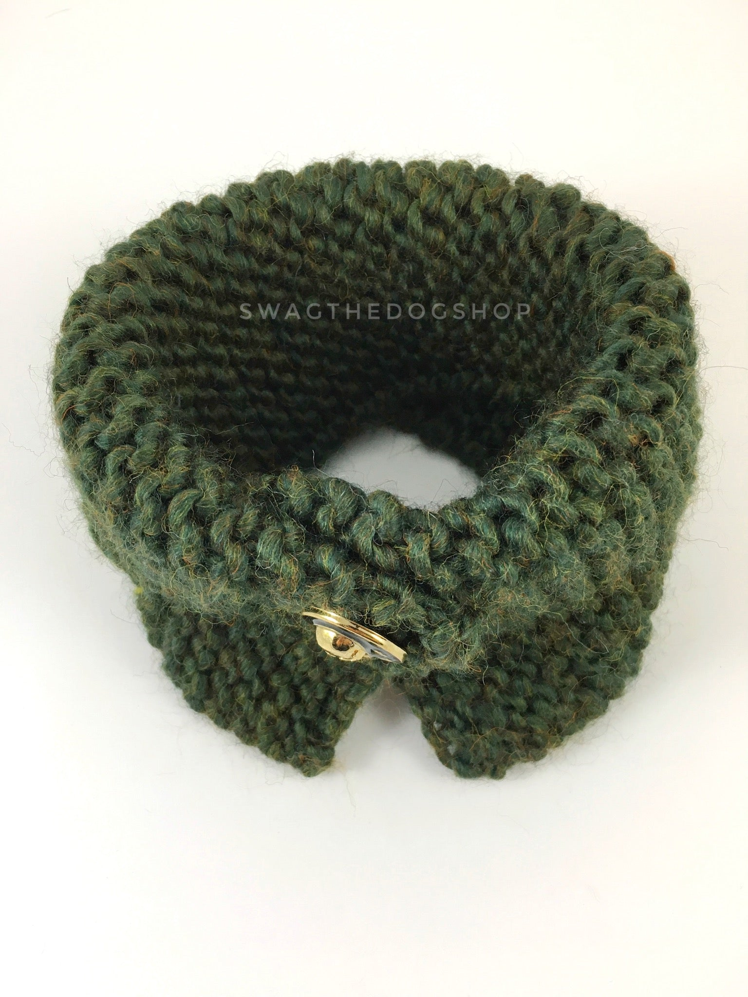 Army Green Swagsnood - Product Above View. Army Green Color Dog Snood with Accent Button