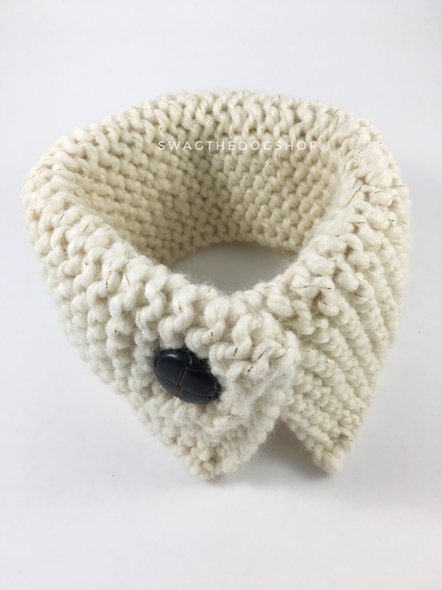 Starlight Sparkle Swagsnood - Product Above View. Cream Color with Sparkle Thread Dog Snood with Accent Button