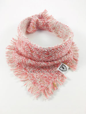 Fairy Pink Tweed Swagdana with Frayed Edges - Product Shot. Dog Bandana. Dog Scarf.