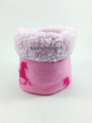 Pink Unicorn Swagsnood - Product Front View. Pink sherpa rolled up 1/3 of the snood and 2/3 with pink unicorn print fleece