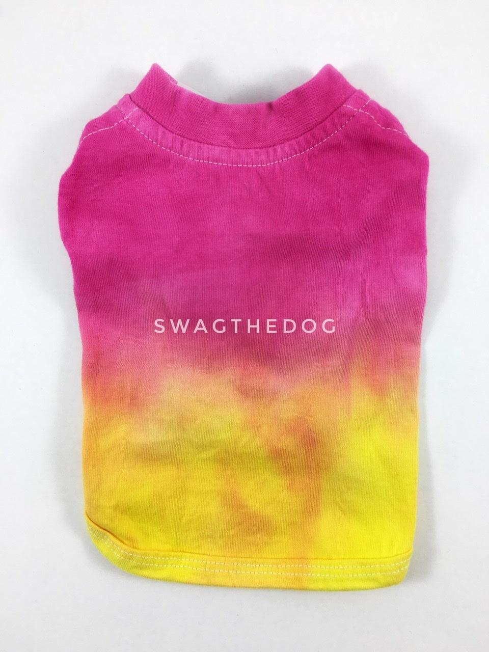 Swagadelic Summer Sunset Ombré Tie Dye Tee - Product back view. The hand tie-dyed tee with Pink and Yellow