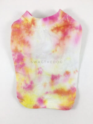 Swagadelic Cotton Candy Tie Dye Tee - Product back view. The hand tie-dyed tee with Pink and Yellow