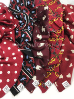 Take an advantage of 3 for $30 deal. 5 Burgundy Color Theme Swagdana Scarves displayed. 1-Polka Dot Burgundy. 2-Leopard Burgundy. 3-Lorenzo Llama Burgundy. 4-24K Burgundy Gold. 5-Full of Heart Burgundy Cream. Dog Bandana. Dog Scarf