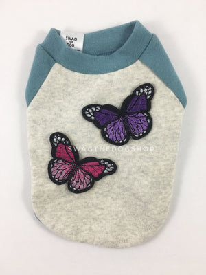 Baby Blue and Gray Centerfield Tees T-Shirt - Patch Option of Butterfly. Baby Blue and Gray T-Shirt