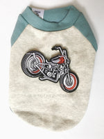 Baby Blue and Gray Centerfield Tees T-Shirt - Patch Add-on of Motorcycle. Baby Blue and Gray T-Shirt
