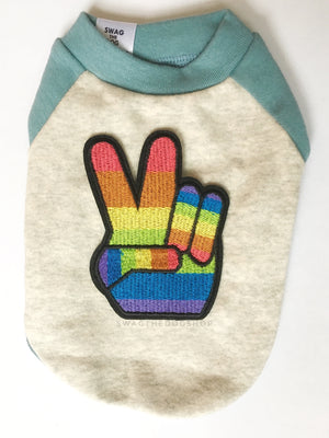 Baby Blue and Gray Centerfield Tees T-Shirt - Patch Add-on of Rainbow Peace. Baby Blue and Gray T-Shirt