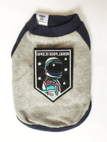 Navy and Gray Centerfield Tees T-Shirt - Patch Add-on of Space Explorer. Navy and Gray T-Shirt