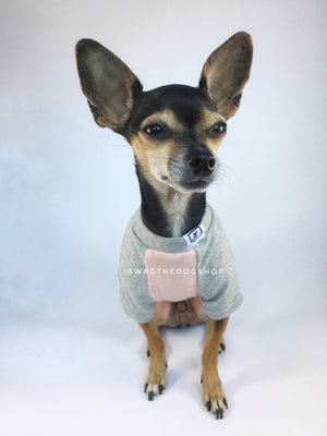 Pink and Gray Centerfield Tees T-Shirt - Cute Chihuahua Dog Wearing T-Shirt Full Front View. Pink and Gray T-Shirt
