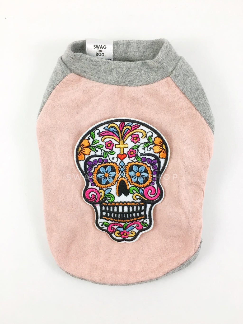Pink and Gray Centerfield Tees T-Shirt - Patch Add-on of Day of Dead Skull. Pink and Gray T-Shirt