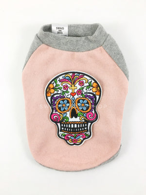 Pink and Gray Centerfield Tees T-Shirt - Patch Option of Day of Dead Skull. Pink and Gray T-Shirt