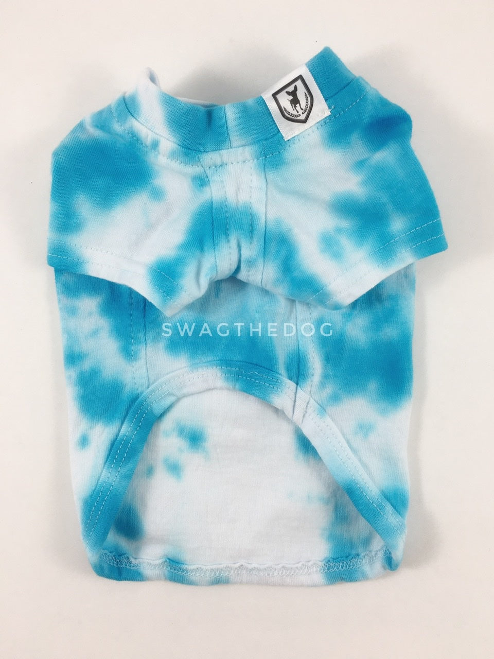Swagadelic Sky Blue Tie Dye Tee - Product front view. The hand tie-dyed tee with Sky Blue