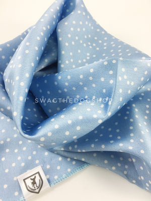 Polka Itty Bitty Powder Blue Swagdana Scarf - Close-up View of Product. Dog Bandana. Dog Scarf.