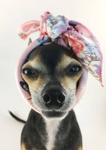 Pink Wild Flower Swagdana Scarf - Bust of Cute Chihuahua Wearing Swagdana Scarf as Headband. Dog Bandana. Dog Scarf.