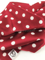Polka Dot Burgundy Swagdana Scarf - Close-up View Of Product. Dog Bandana. Dog Scarf.