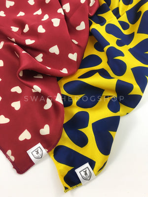 Take an advantage of 3 for $30. 2 Full of Heart Swagdana Scarves Displayed. Left-Full of Heart Burgundy Cream. Right-Full of Heart Royal Yellow. Dog Bandana. Dog Scarf.