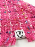 Hot Pink Tweed Swagdana with Frayed Edges - Close-up View of Product. Dog Bandana. Dog Scarf.
