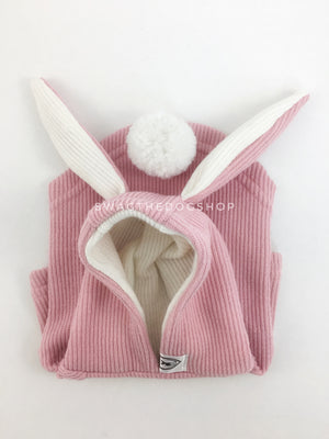 Pink Bunny Hoodie - Product Flip View. Pink Bunny Hoodie with Pom Pom Tail