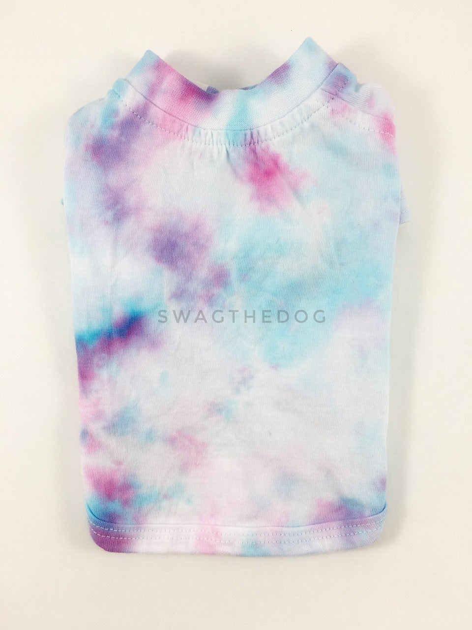 Swagadelic Unicorn Tie Dye Tee - Product back view. The hand tie-dyed tee with Pink and Sky Blue