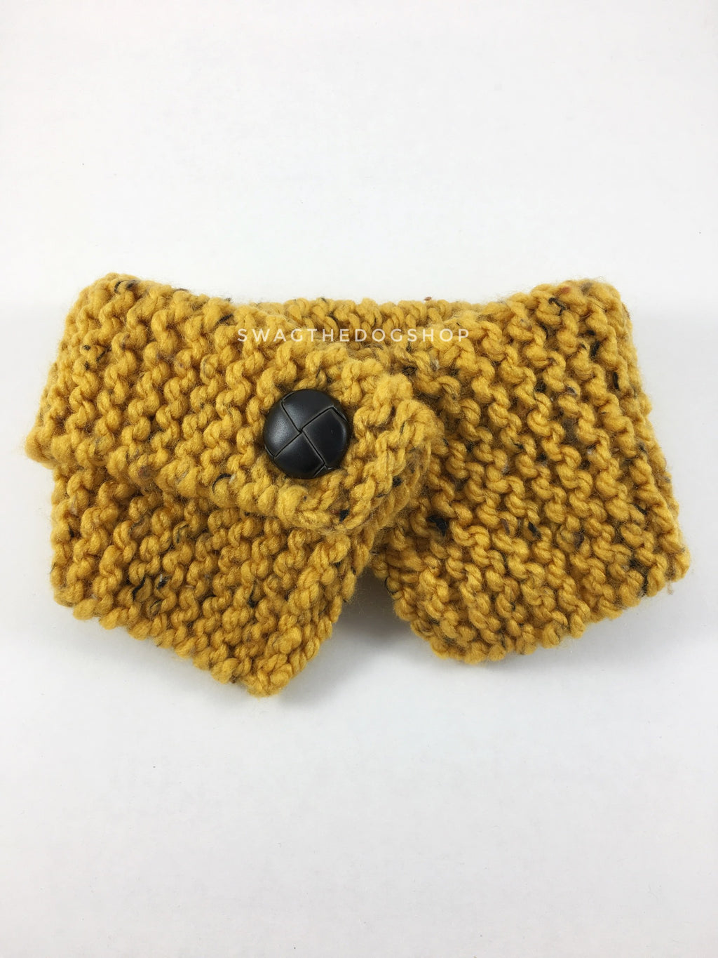 Honey Mustard Tweed Swagsnood - Product Front View. Honey Mustard Color with Black Speck Tweed Dog Snood with Accent Button