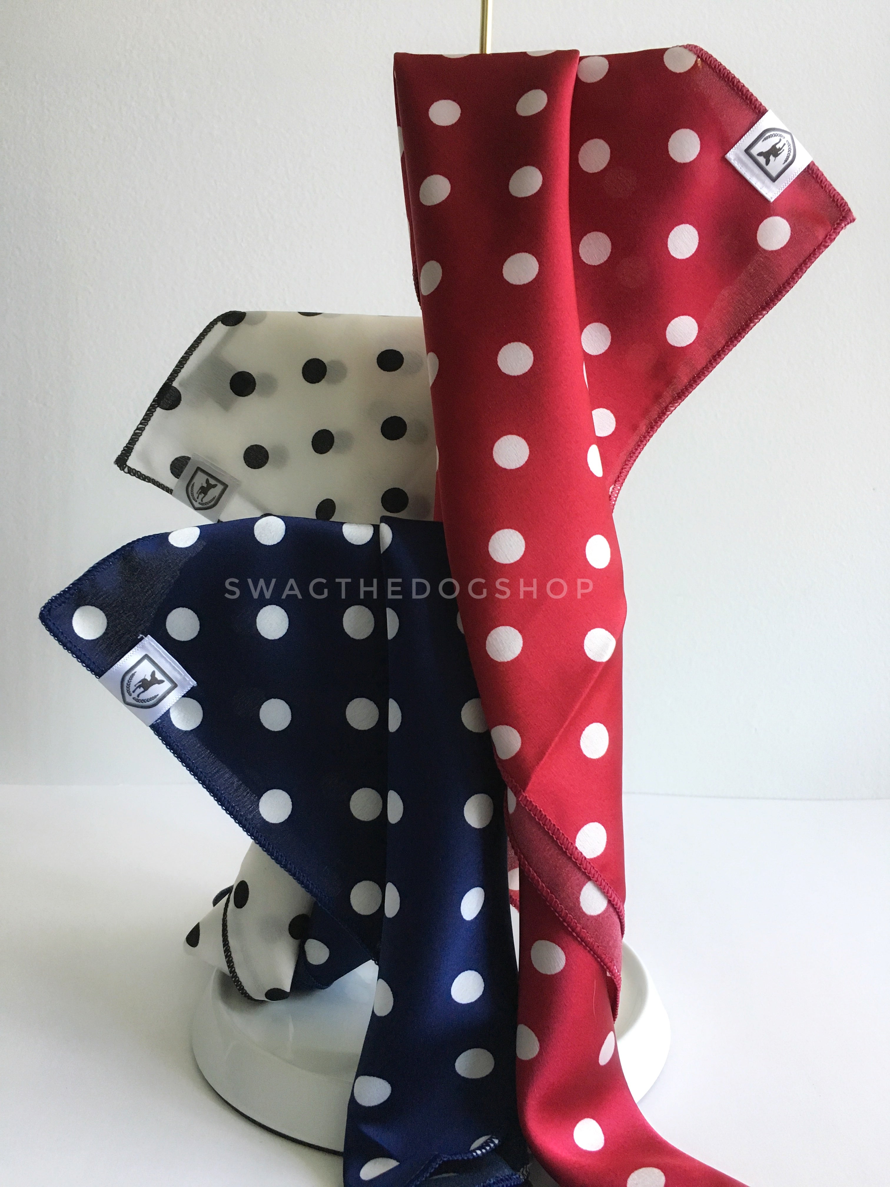 Take an advantage of 3 for $30 deal. 3 Polka Dot Theme Swagdana Scarves displayed. 1-Polka Dot White. 2-Polka Dot Navy. 3-Polka Dot Burgundy. Dog Bandana. Dog Scarf