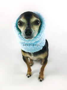 Blue Unicorn Swagsnood - Close-up view of Hugo, Cute Chihuahua Dog Wearing and covering his ears with blue sherpa side