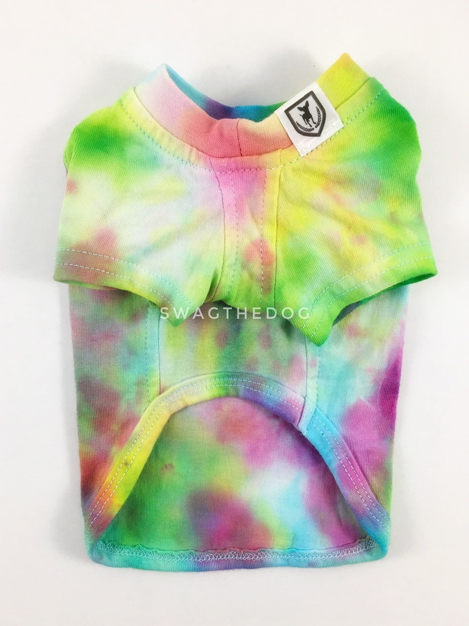 Swagadelic Hipster Tie Dye Tee - Product front view. The hand tie-dyed tee with Pink, Yellow and Sky Blue