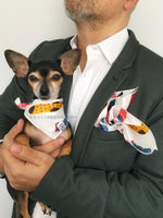Rock Your Socks Print Swagdana Scarf - Man using Swagdana Scarf as Pocket Square in his Sports Jacket and Hugo, The Chihuahua Wearing Swagdana Scarf as Bandana. Dog Bandana. Dog Scarf