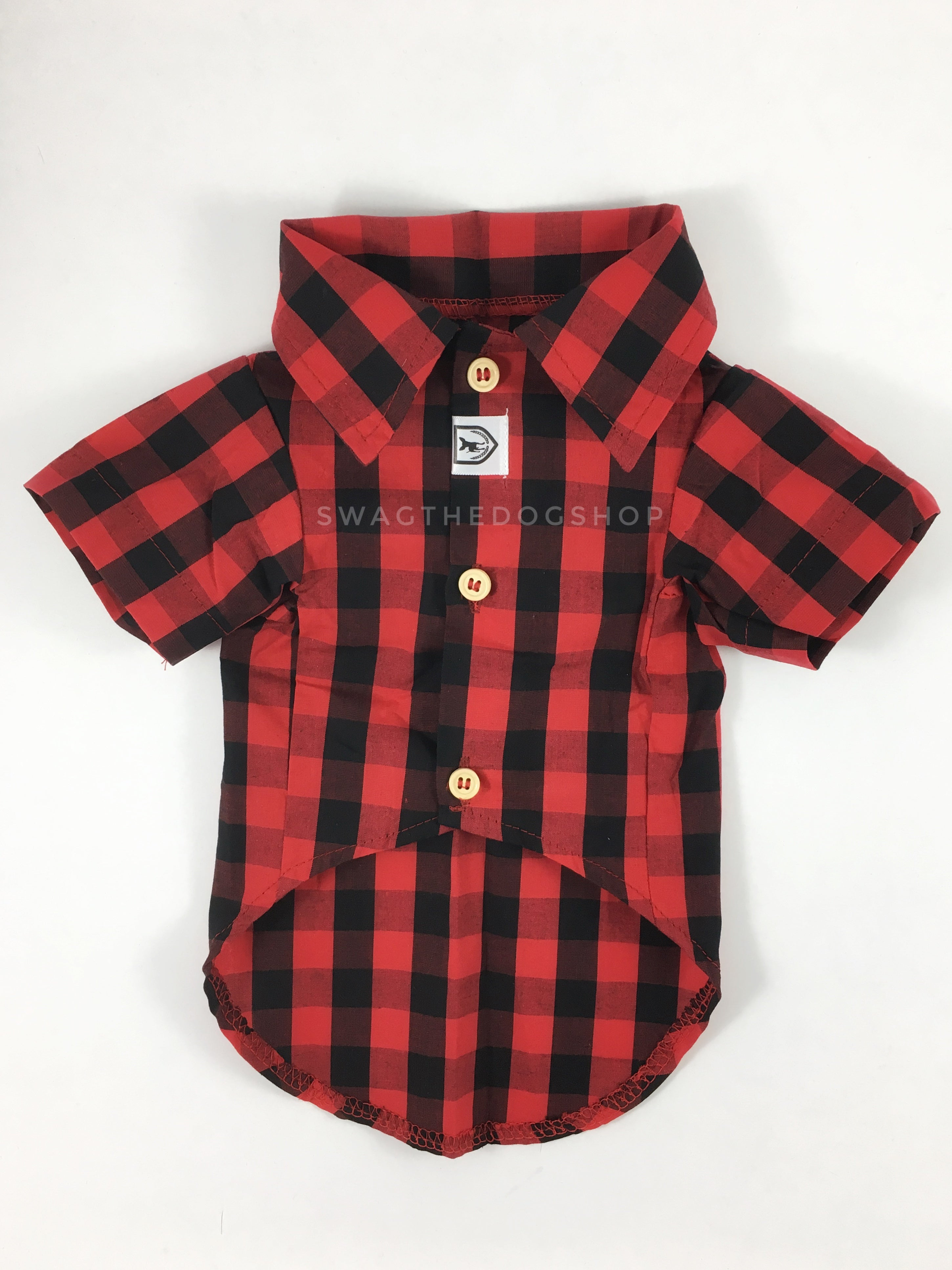 Kenora Summer Shirt - Product Front View. Black and Red Gingham Shirt