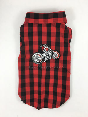 Kenora Summer Shirt - Patch Option of Motorcycle on the Back. Black and Red Gingham Shirt