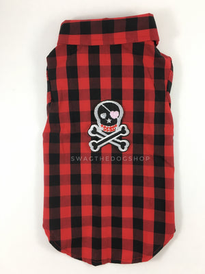 Kenora Summer Shirt - Patch Add-on of Badass Skull on the Back. Black and Red Checker Pattern Gingham Shirt