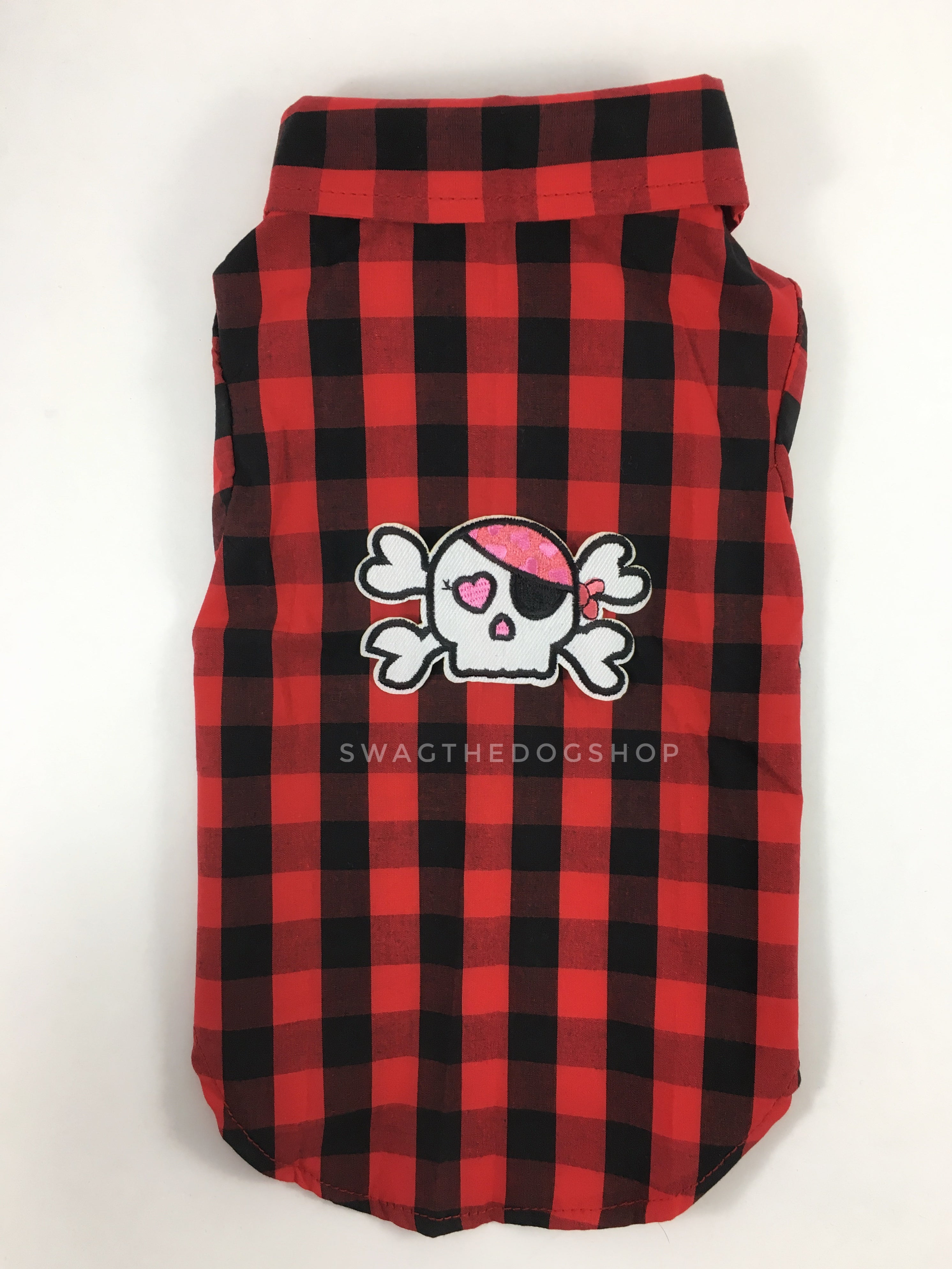 Kenora Summer Shirt - Patch Option of Badass Skull on the Back. Black and Red Checker Pattern Gingham Shirt