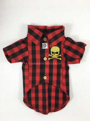 Kenora Summer Shirt - Patch Option of Badass Skull on the Front. Black and Red Gingham Shirt