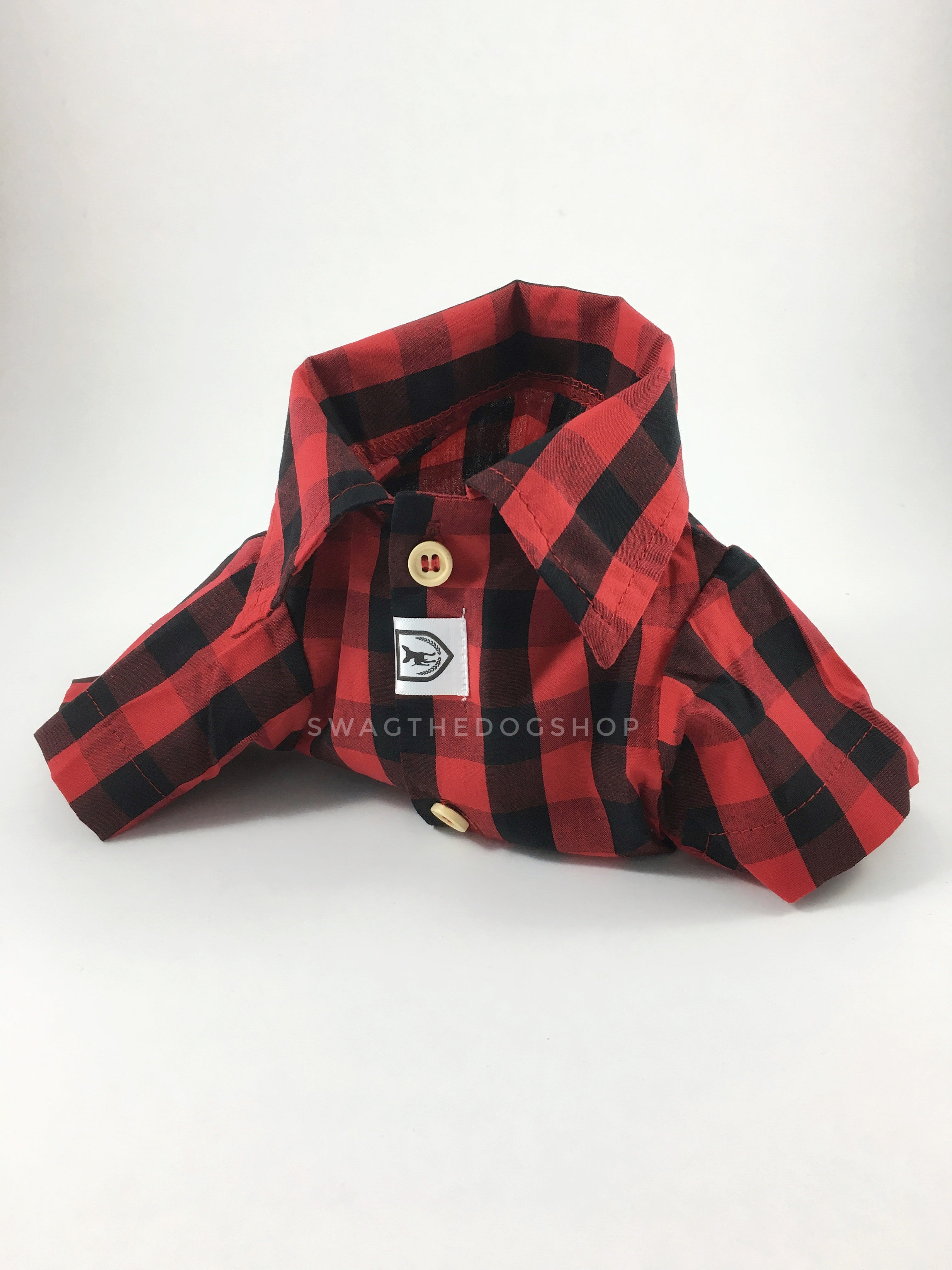 Kenora Summer Shirt - Product Upright Front View. Black and Red Gingham Shirt
