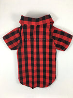 Kenora Summer Shirt - Product Back View. Black and Red Gingham Shirt