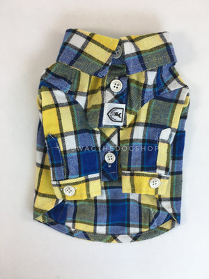 Royal Yellow Plaid Shirt - Product Front View. Royal Blue and Yellow Plaid Shirt